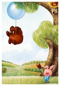 Почтовая открытка Винни-Пух