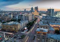 Вид на Новый Арбат, гостиницу «Украина» и небоскрёбы «Москва-Сити»