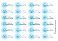 I love Postcrossing, 24 наклейки для посткроссинга